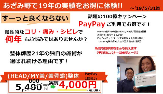 PayPay100億円キャンペーン参加整体院
